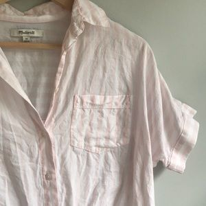 Madewell pink and white tie front shirt